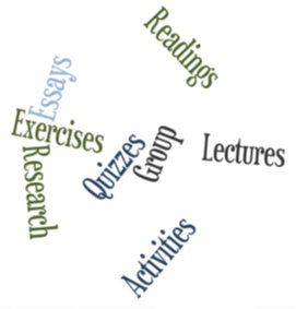 "Info graphic of ""readings,"" ""exercises,"" ""essays,"" and so forth"