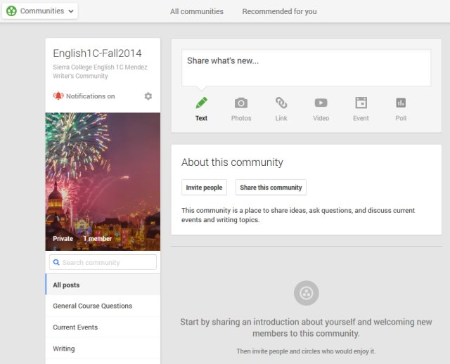 Screenshot of Google Community
