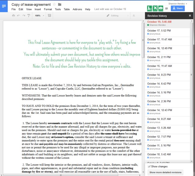 Screenshot of Lease Agreement Collaborative Document