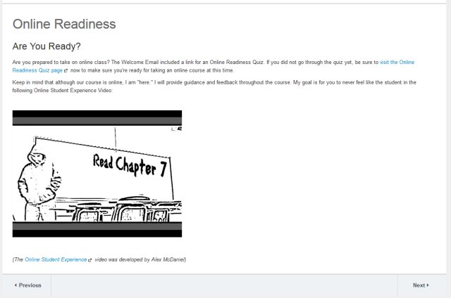 Screenshot of Online Readiness Page