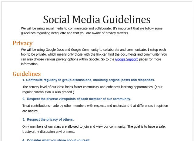 Screenshot of Social Media Guidelines
