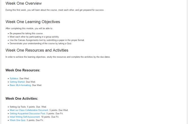 Screenshot of Weekly Outline